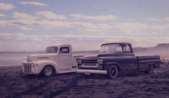 Trucks on the beach