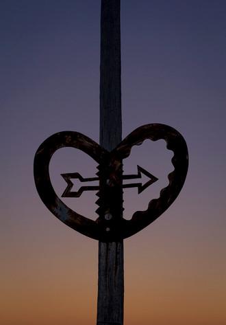 Heart sculpture at sunset in Wellington