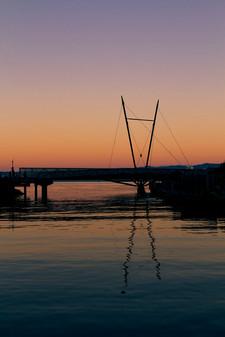 Wellington waterfront bridge at sunset