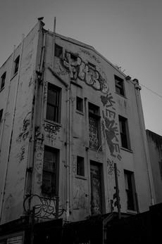 Graffiti covered building in Wellington