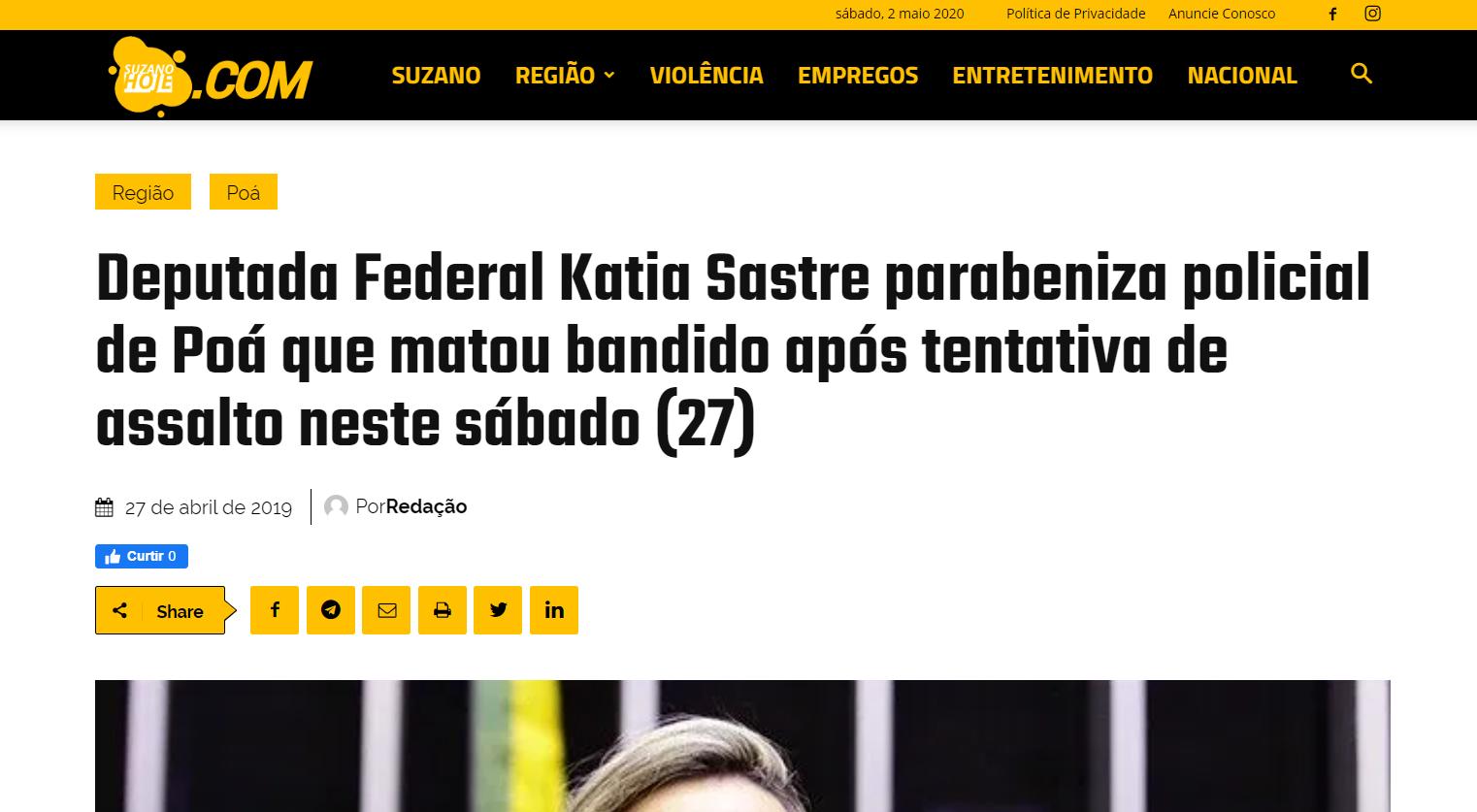 Deputada Katia Sastre parabeniza policial de Poá que matou bandido