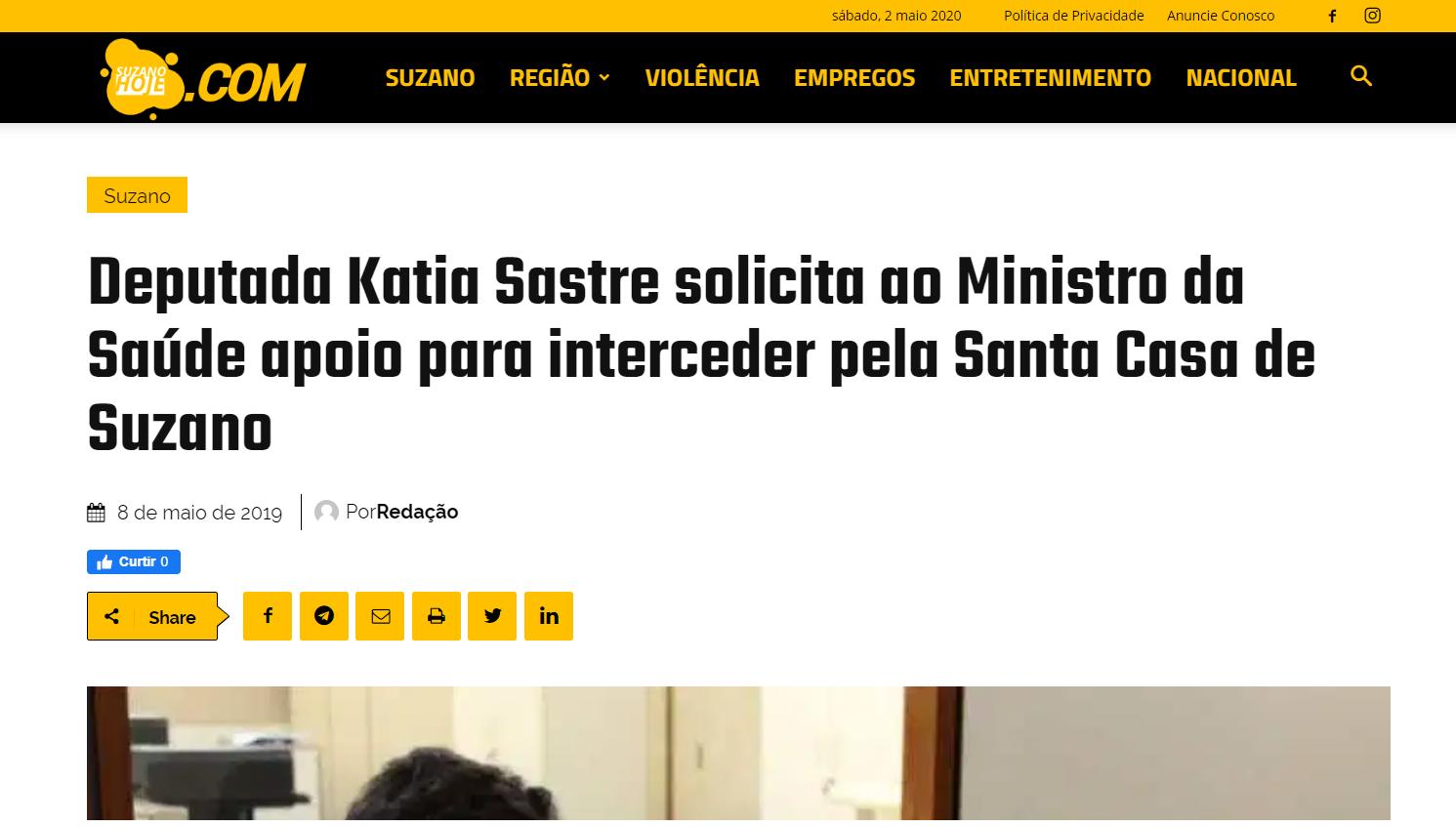 Katia Sastre solicita ao ministro da saúde apoio para interceder pela Santa Casa de Suzano
