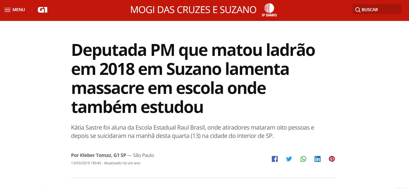 Deputada PM que matou ladrão em 2018 em Suzano lamenta massacre em escola onde também estudou