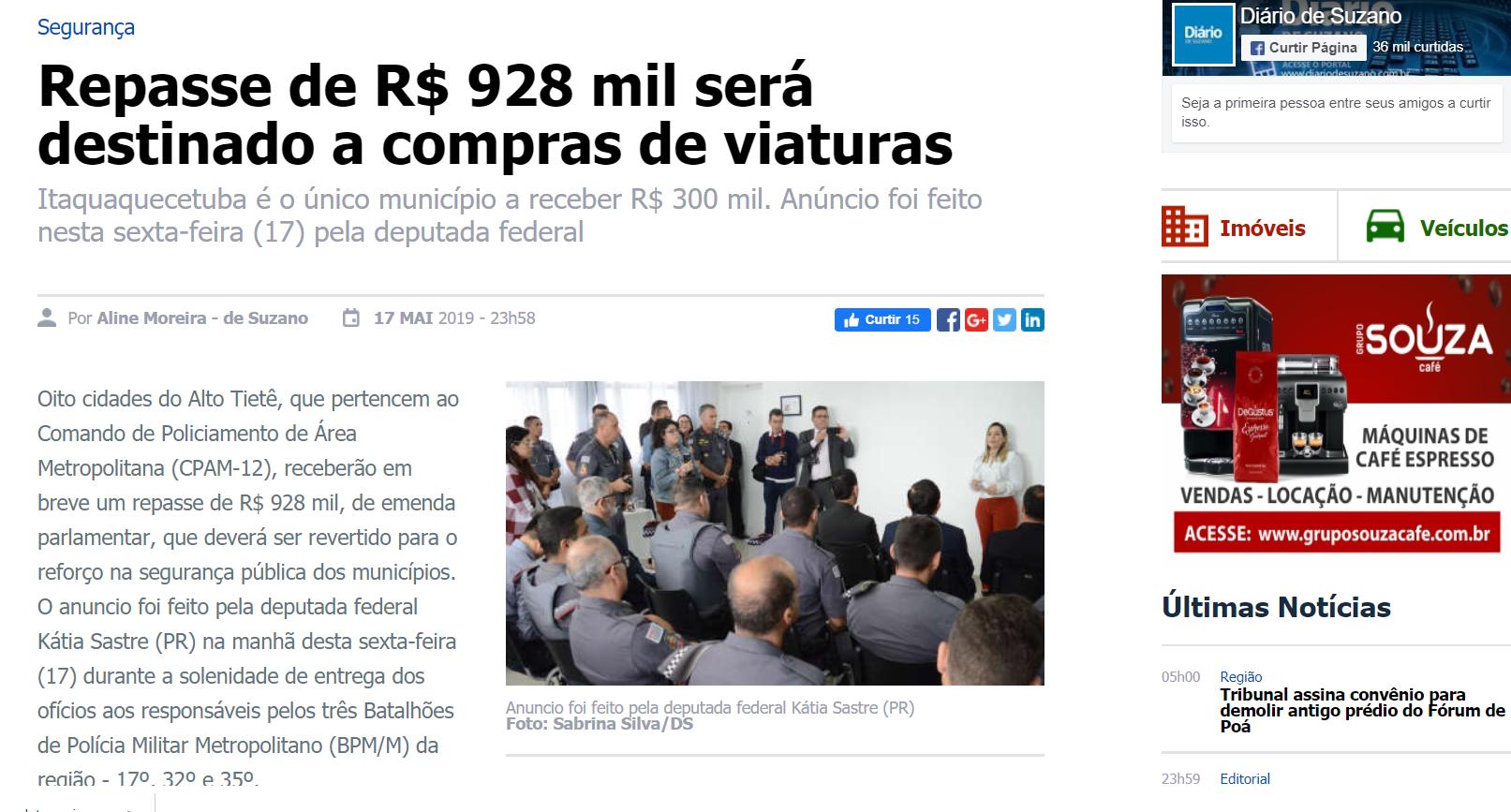 Repasse de R$ 928 mil será destinado a compras de viaturas
