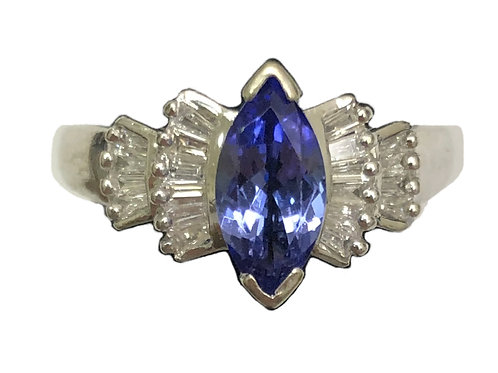 14K WHITE GOLD TANZANITE AND DAIMOND RING