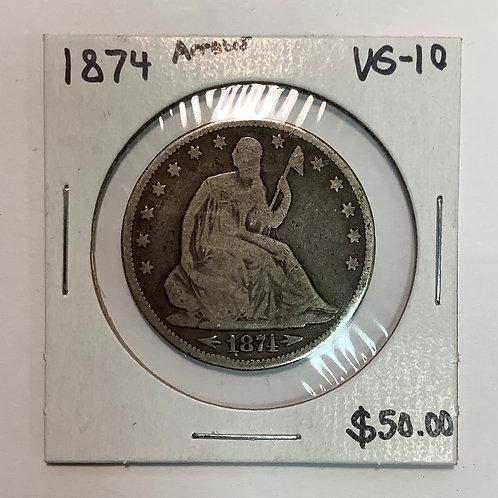 "1874 Seated Liberty Half Dollar ""arrows"" VG-10"