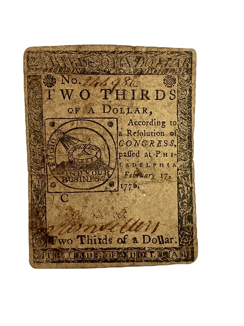 Two Thirds Dollar Continental Note PA