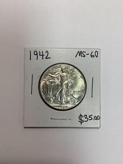 1942 Walking Liberty Half Dollar MS-60