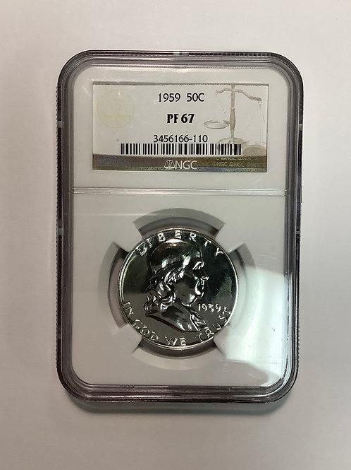 1959 PF 67 Franklin Half Dollar