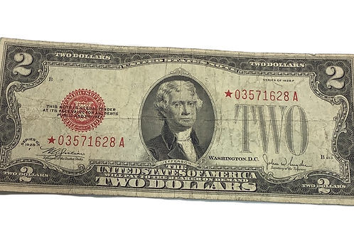 $2 note Red star Series of 1928 F