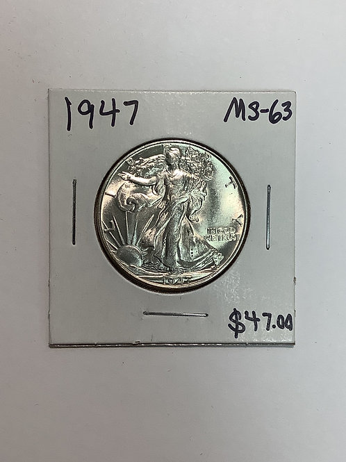 1947 Walking Liberty Half Dollar MS-63
