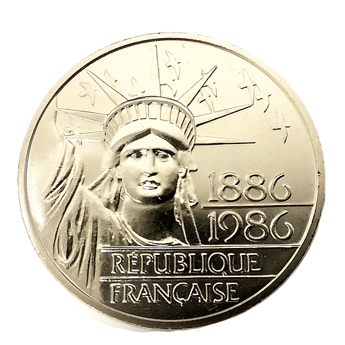 1986 FRENCH 100F STATUE  OF LIBERTY  95% ROUND **VERY LOW MINTAGE**