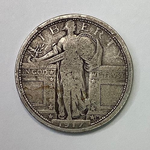 1917 Type 1 Standing Liberty Quarter VG