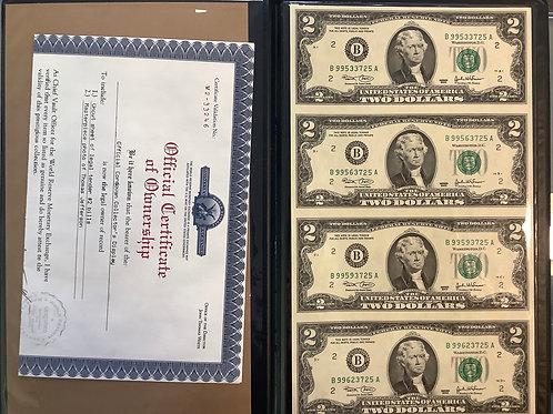 Monetary Exchange Uncut Sheet of $2 bills