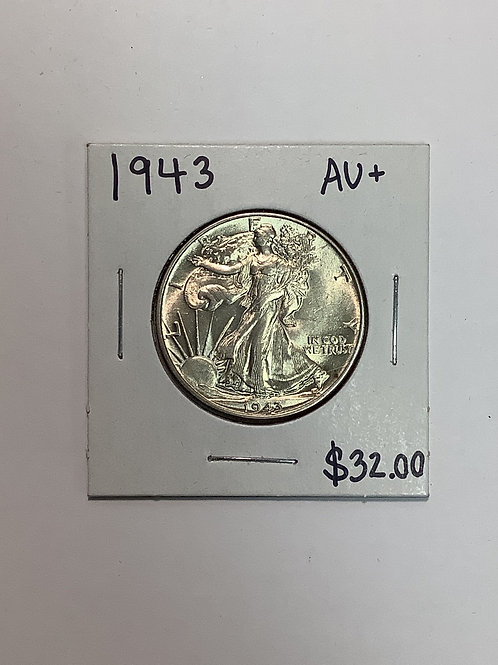 1943 Walking Liberty Half Dollar AU+