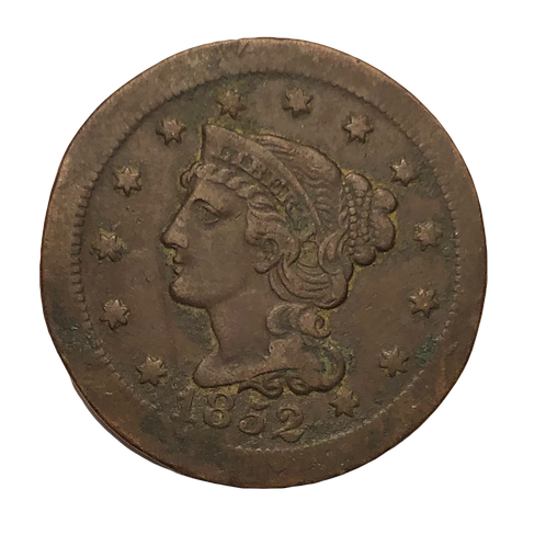 1852 large cent Broadstruck