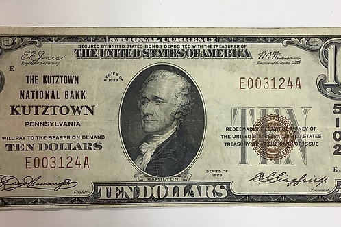 $10.00 1929 Kutztown National Bank Note