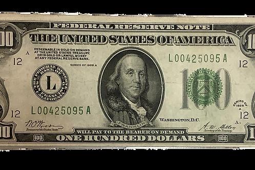 1928 A $100.00 Note Bank of San Francisco