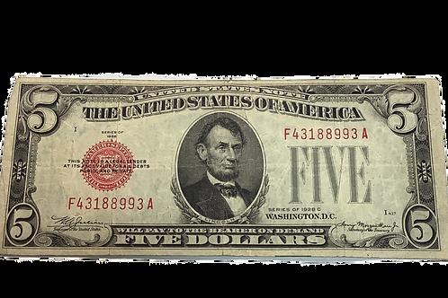 $5  note series of 1928 c