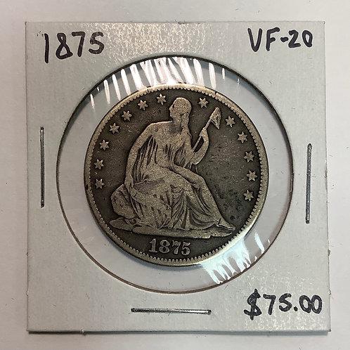 1875 Seated Liberty Half Dollar VF-20