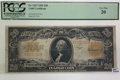 $20 Gold Certificate 1922 Fr. 1187