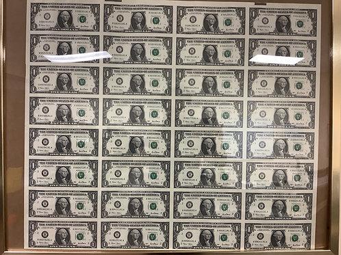 2001 Series $1.00 Bill Sheet