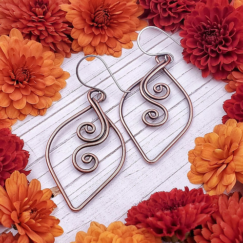 Perfect Everyday Swirly Earrings in Copper - 2 inch