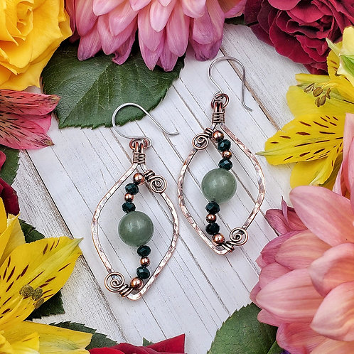 Green Aventurine Earrings in Hammered Copper Frame with Crystal Accents