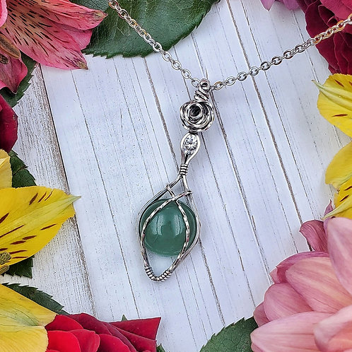 Green Aventurine and Zirconia Pendant in Silver with Rose Detail