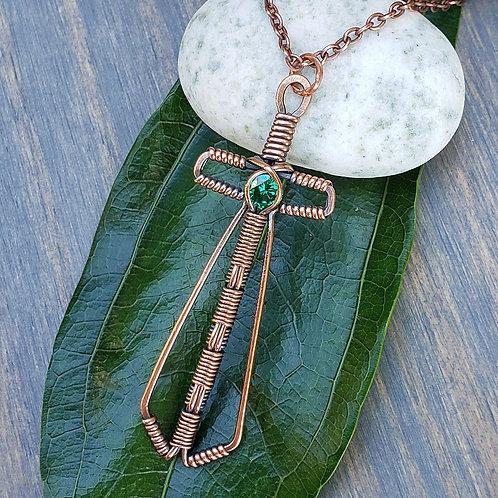 Sword Pendant in Copper with Emerald Green Cubic Zirconia