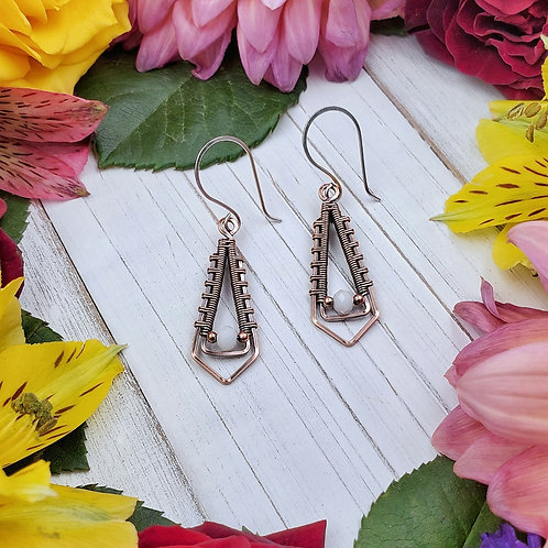 Woven Copper Earrings with White Crystal Accents