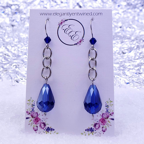 Royal Blue Crystal Earrings in Stainless Steel