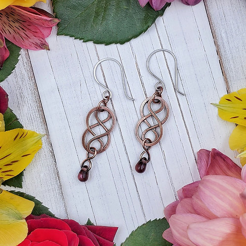 Celtic Dangle Earrings in Hammered Copper with Purple Crystal Drop