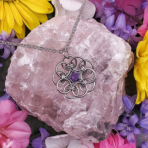 Celtic Flower Pendant with Amethyst Zirconia in Stainless Steel