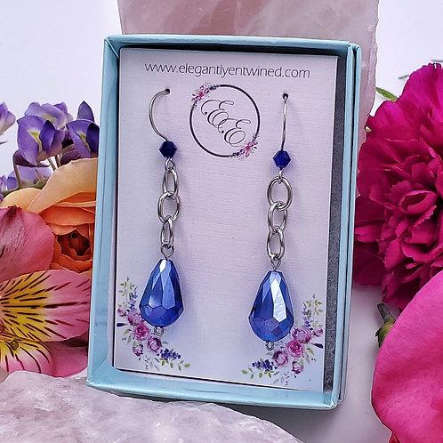 Royal Blue Crystal Earrings in Stainless Steel