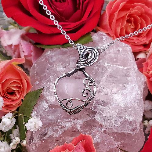 Rose Quartz Heart Pendant in Swirly Silver Frame