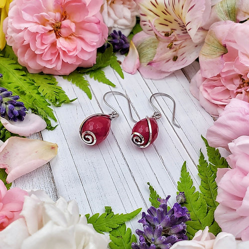 Magenta Jade Earrings in Silver