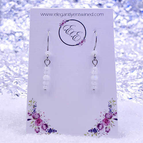 Small White Crystal Earrings in Stainless Steel