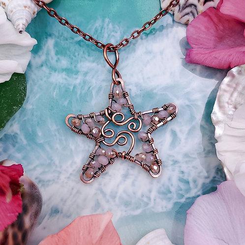 Peach Beaded Starfish Pendant in Copper