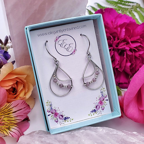 Light Purple Crystal Beaded Hoop Earrings in Silver