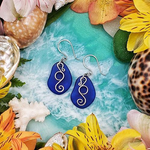 Silver Seahorse Earrings on Royal Blue Sea Glass