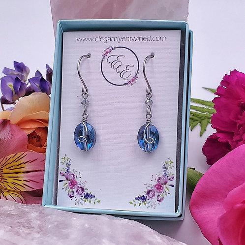 Blue Crystal Earrings in Stainless Steel (1 inch)