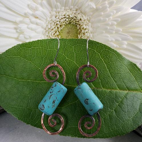 Turquoise Howlite Hammered Swirl Earrings in Copper on Stainless Steel Hooks