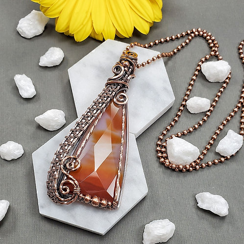 Carnelian Triangle in Woven Copper Frame