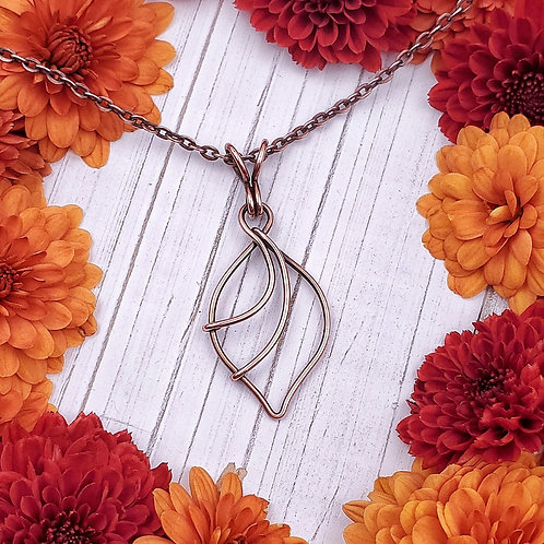 Abstract Leaf Shaped Pendant in Copper