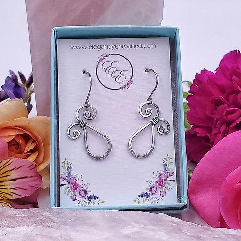 Swirly Hammered Earrings in Silver