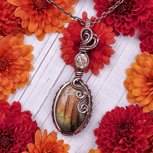 Golden Labradorite and Champaign Cubic Zirconia Pendant in Copper Frame