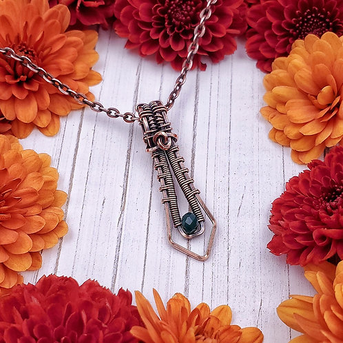 Woven Copper Pendant with Dark Green Crystal Bead
