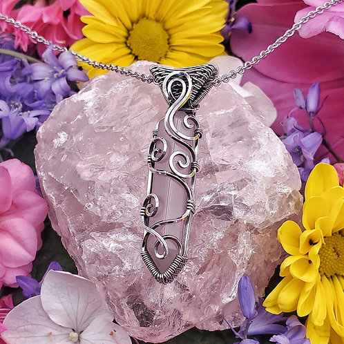 Double-Sided Swirly Rose Quartz Point Pendant in Silver