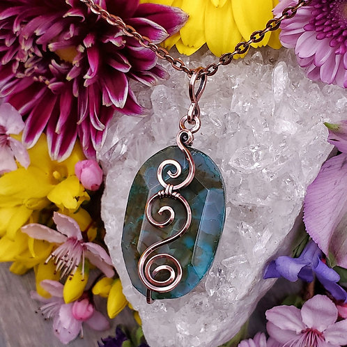Teal and Green Dyed Agate Pendant in Swirly Copper